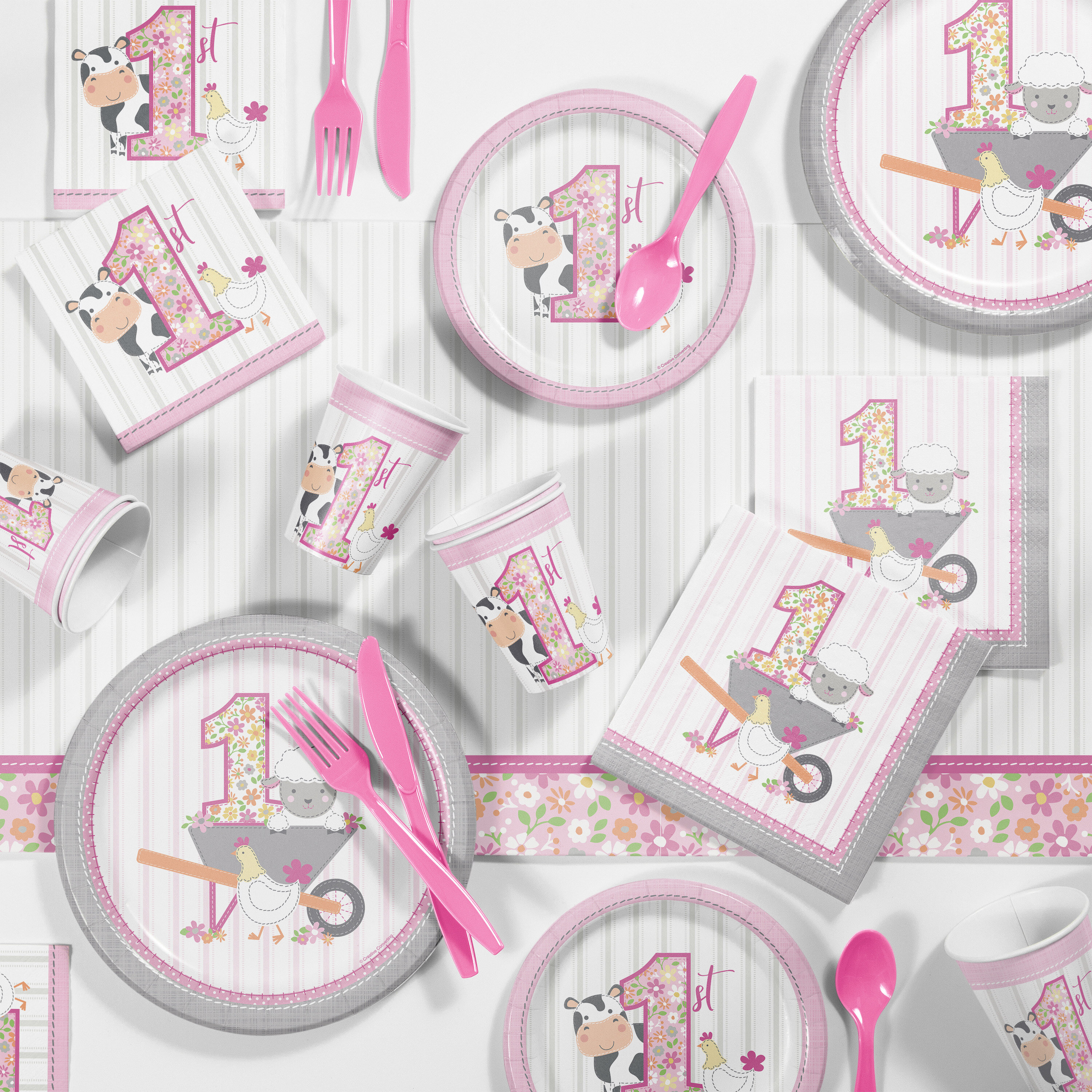 Set of 16 Pink Farmhouse Party Farm Party Luncheon Napkins Barnyard Party