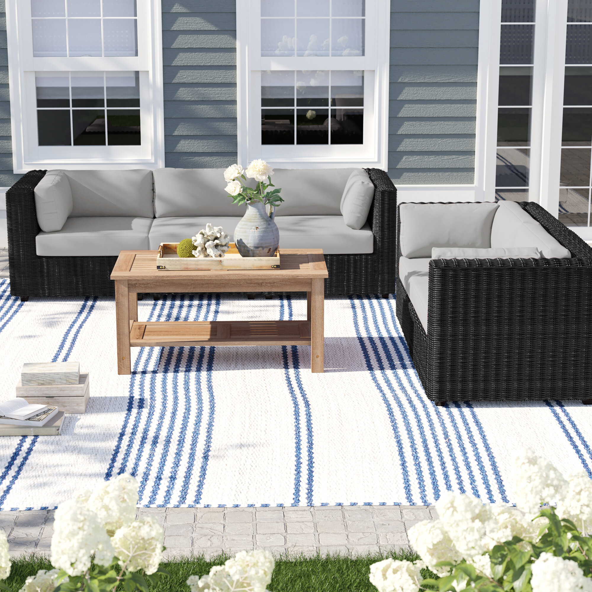 Olathe 5 Piece Rattan Sectional Seating Group With Cushions Birch Lane