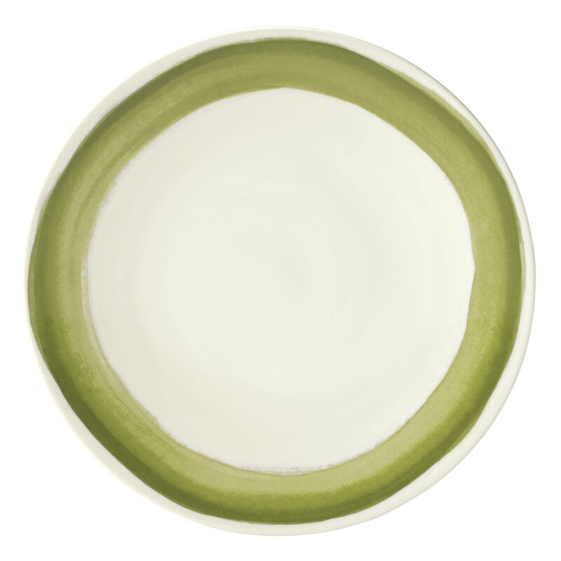Dinner Plate with green and white
