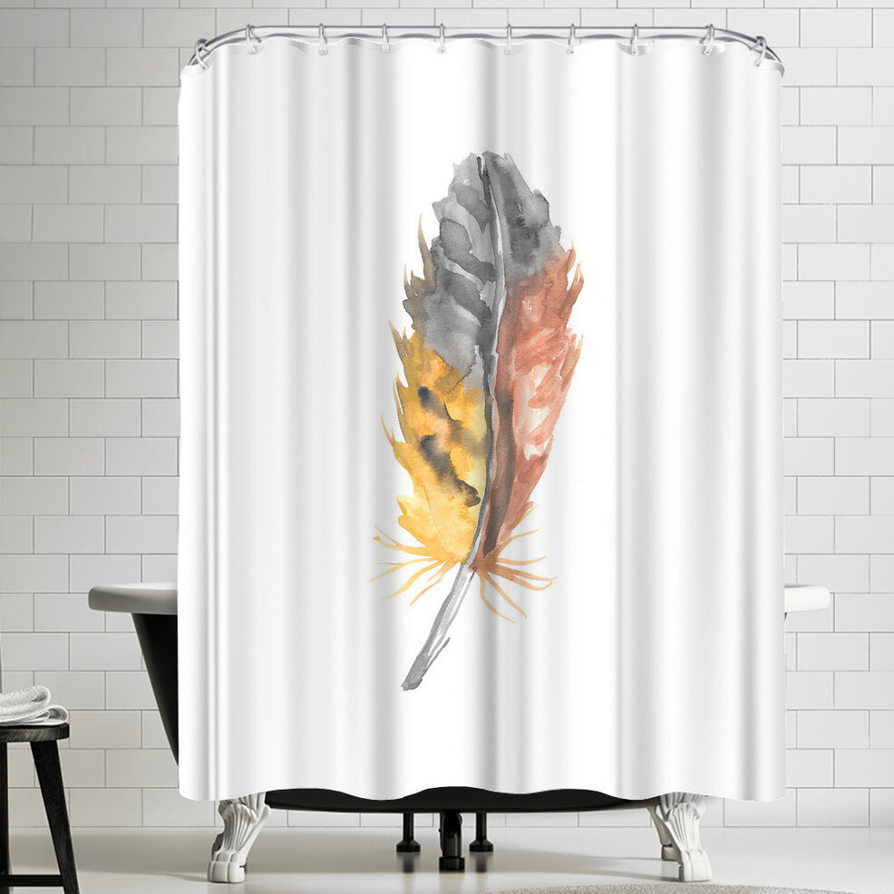 East Urban Home Jetty Printables Nursery Watercolor Feather Shower Curtain