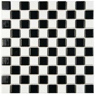 Derecha 1 X Porcelain Mosaic Tile In Black White