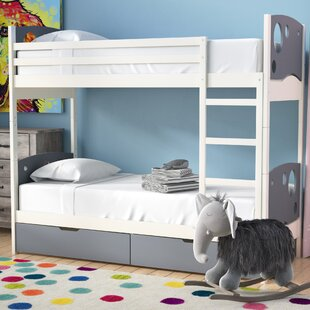 Dulcia Panel Toddler Bunk Bed with Mattress and Drawers