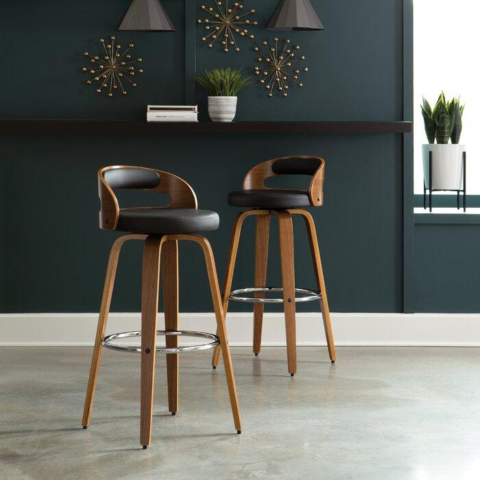 Fantastic Labelle Mid Century Modern Low Back Bentwood Frame 30 Swivel Bar Stool Ibusinesslaw Wood Chair Design Ideas Ibusinesslaworg