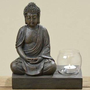 Seated Buddha Glass/Polyresin Tealight Holder