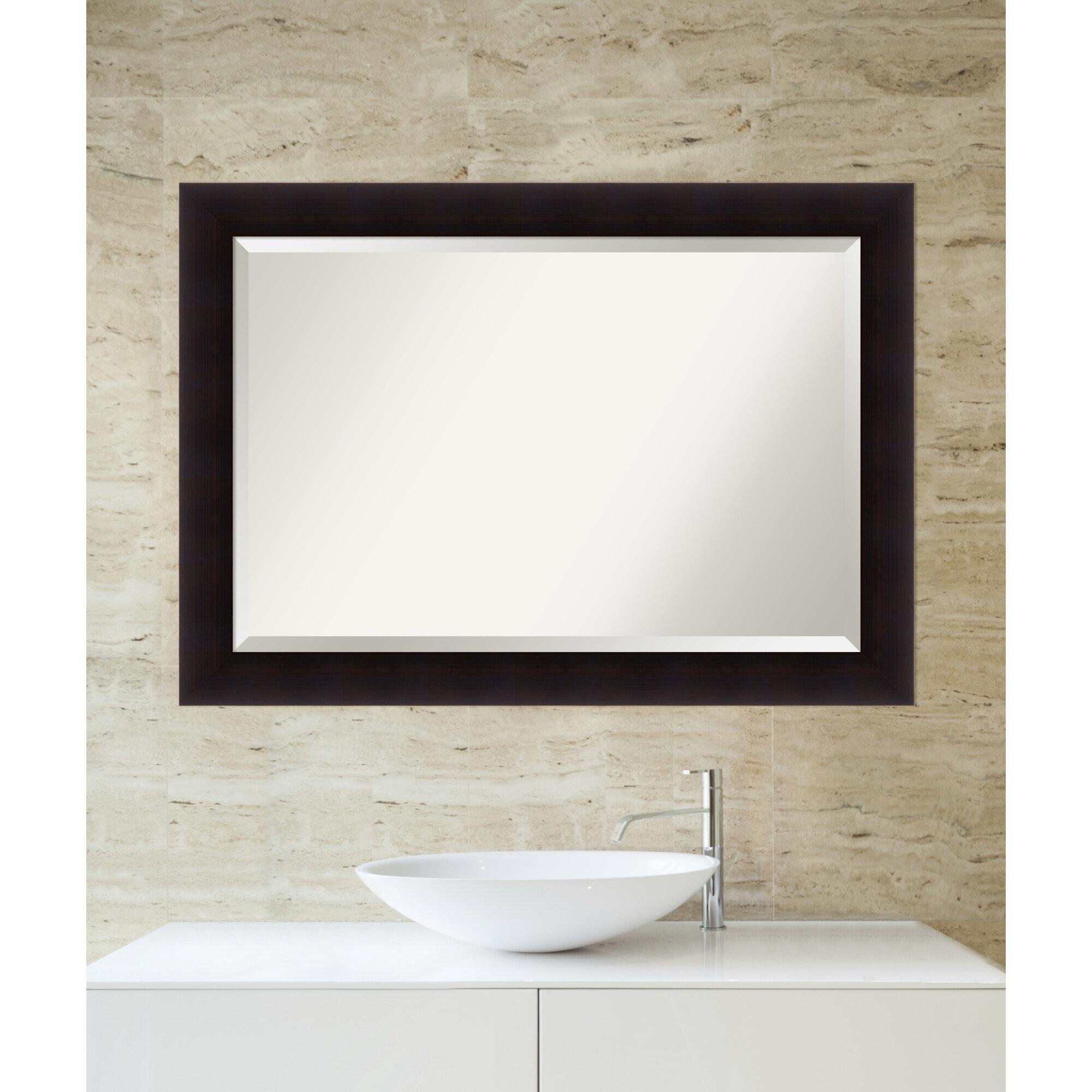 Red Barrel Studio Rectangle Espresso Frame Bathroom Mirror | Wayfair