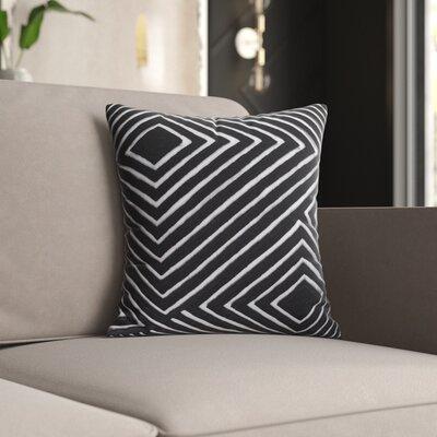 Mercury Row Keese Cotton Pillow Cover Size: 18 H x 18 W x 1 D, Color: Gray/Black