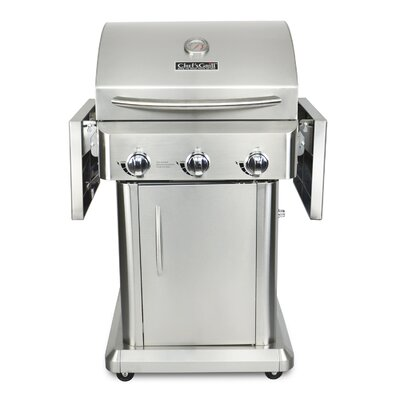 Chef's Grill 3-Burner Liquid Propane Gas Grill with Folding Side Shelves