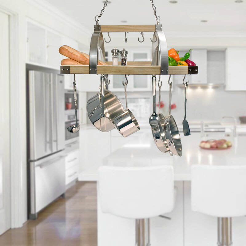 17 Stories 2 Light Kitchen Wood Pot Rack