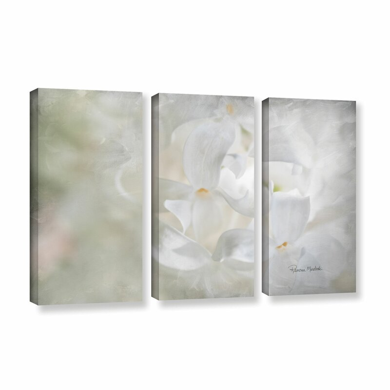 Alcott Hill White Lilac Ii 3 Piece Painting Print On Gallery Wrapped Canvas Set Wayfair