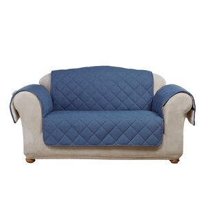 Denim Sherpa Box Cushion Loveseat Slipcover
