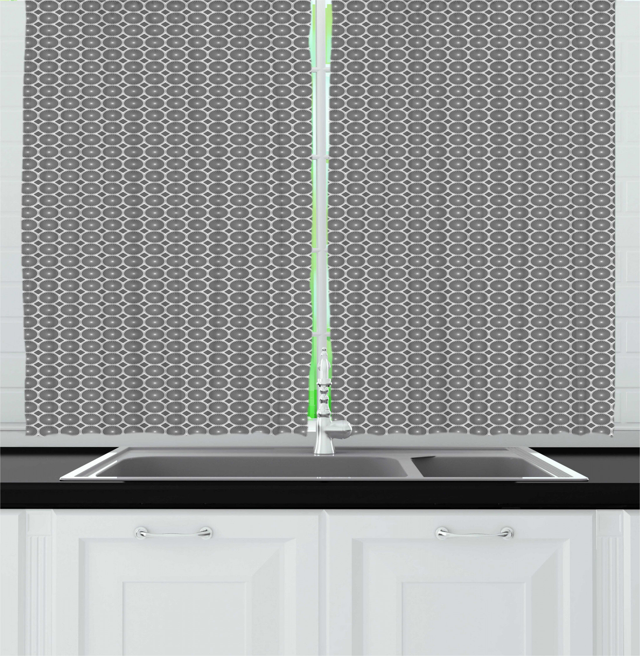 East Urban Home Greyscale Pattern Repetition With Circular Motif With Rhombus Shape Kitchen Curtain Wayfair