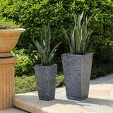 2-Piece Grey Stone Finish Tall Tapered Square Mgo Planter