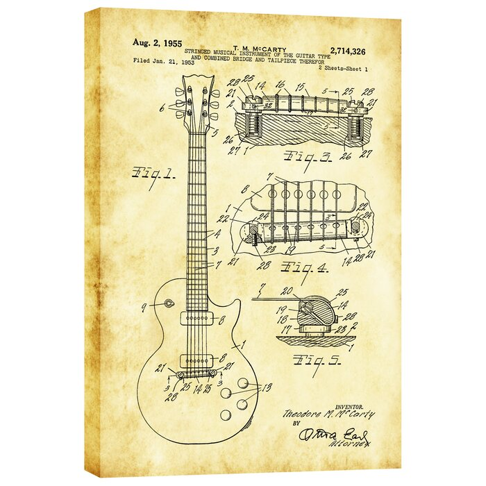 Mccarty Gibson Les Paul Guitar Vintage Patent Blueprint Giclee Graphic Art On Canvas