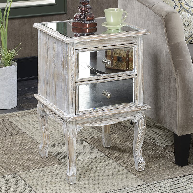 Mariah Queen Anne Mirrored End Table
