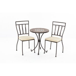 Tremiti 3 Piece Mosaic Bistro Set with Cushions
