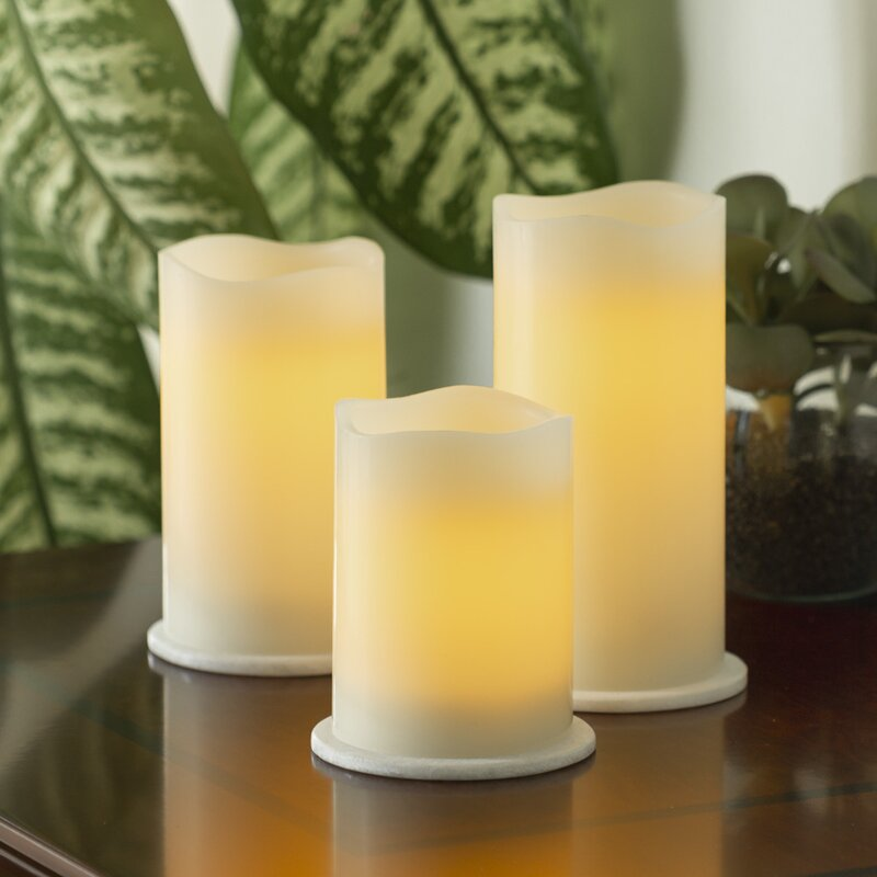 Ebern Designs 3 Piece Pillar Trio Unscented Flameless Candle Set Reviews Wayfair