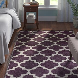 Best Martina Tangier Hand-Knotted Purple/White Outdoor Area Rug By Andover Mills