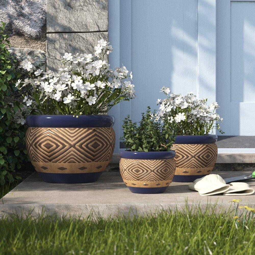 Warrenton 3 Piece Ceramic Pot Planter Set Reviews Birch Lane