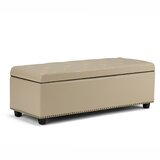 Burrus 48 Leather Tufted Rectangle Storage Ottoman by Charlton Home®