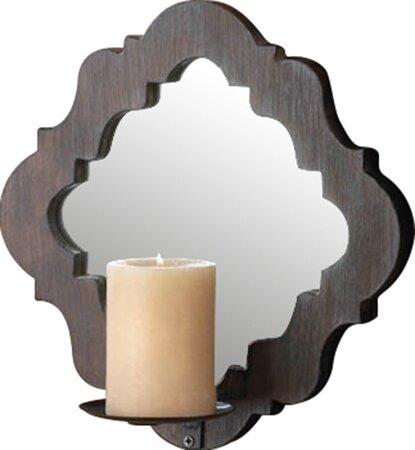 Mirrored Wall Sconce zingz & thingz wood damask mirrored wall sconce & reviews | wayfair