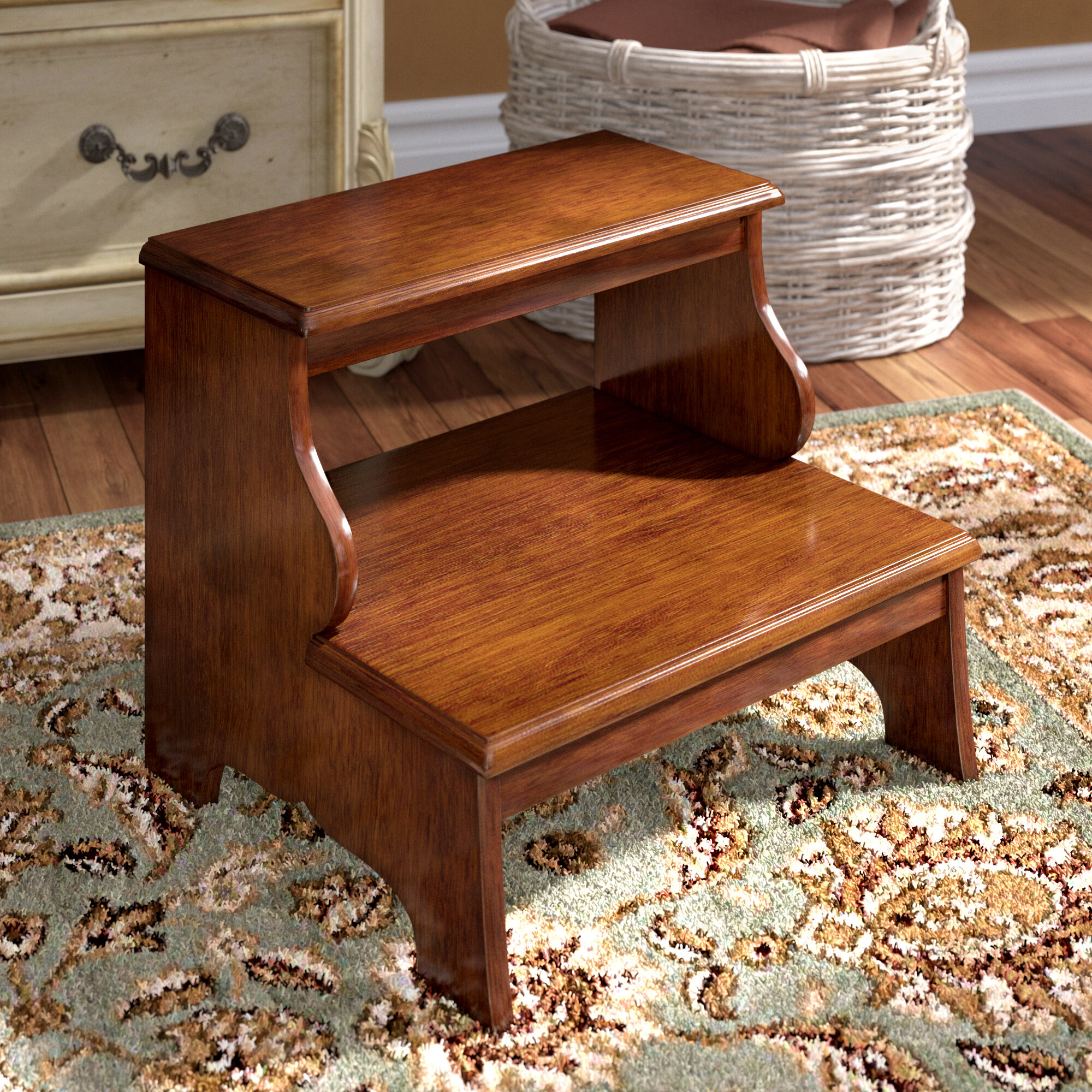 Phenomenal Willard 2 Step Wood Step Stool With 375 Lb Load Capacity Machost Co Dining Chair Design Ideas Machostcouk
