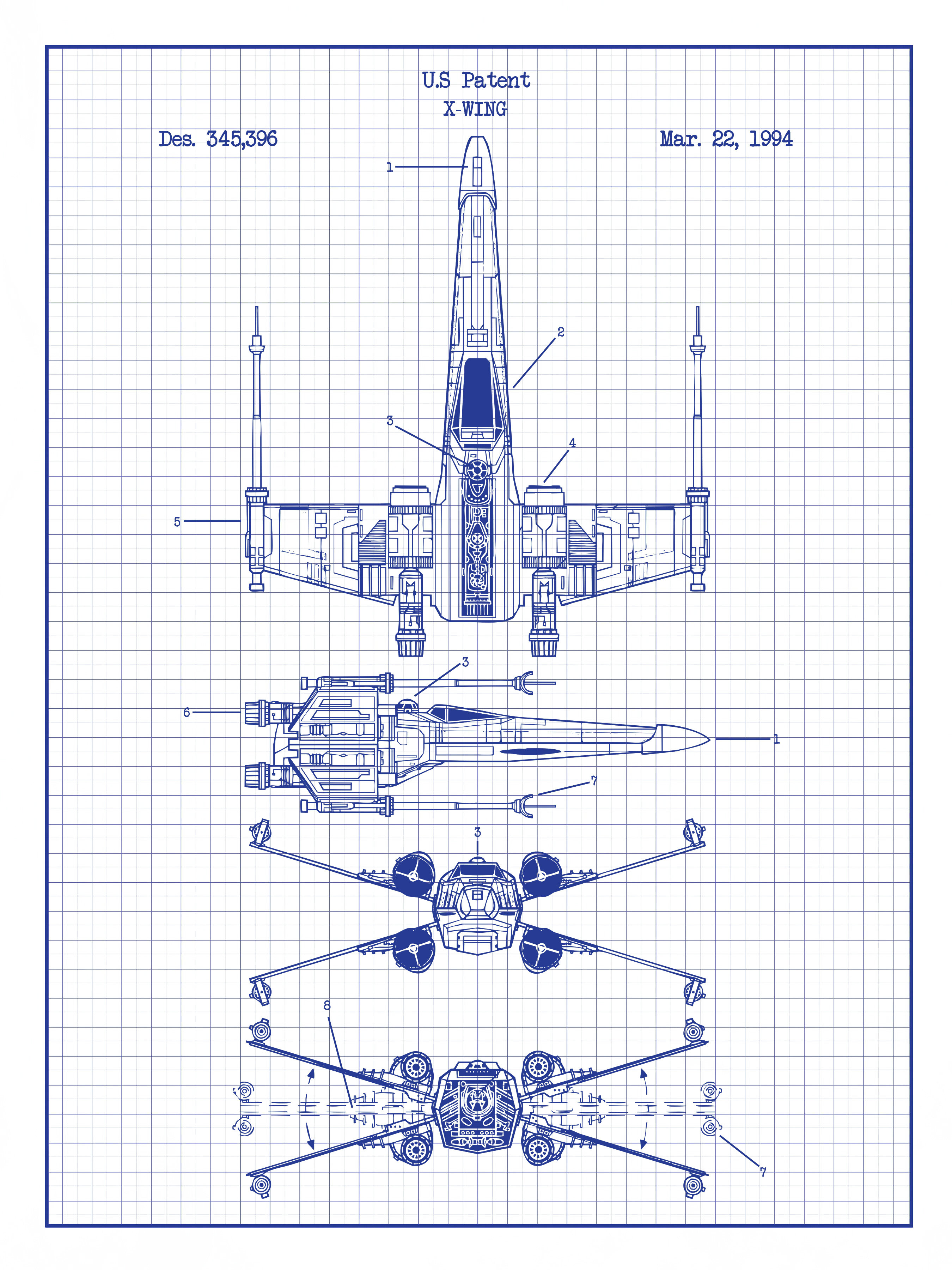 'Star Wars X-Wing 2' Blueprint Graphic Art Print on b-wing schematics, at-at schematics, a wing fighter schematics, tie interceptor schematics, minecraft schematics, y-wing schematics, halo warthog schematics,