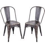 Le Sirenuse Metal Slat Back Stacking Side Chair in Golden Black (Set of 2) by Williston Forge