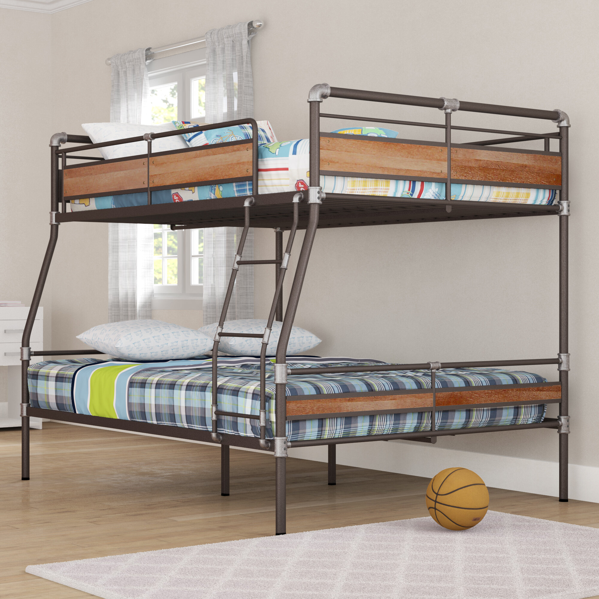 bunk bed with queen on bottom
