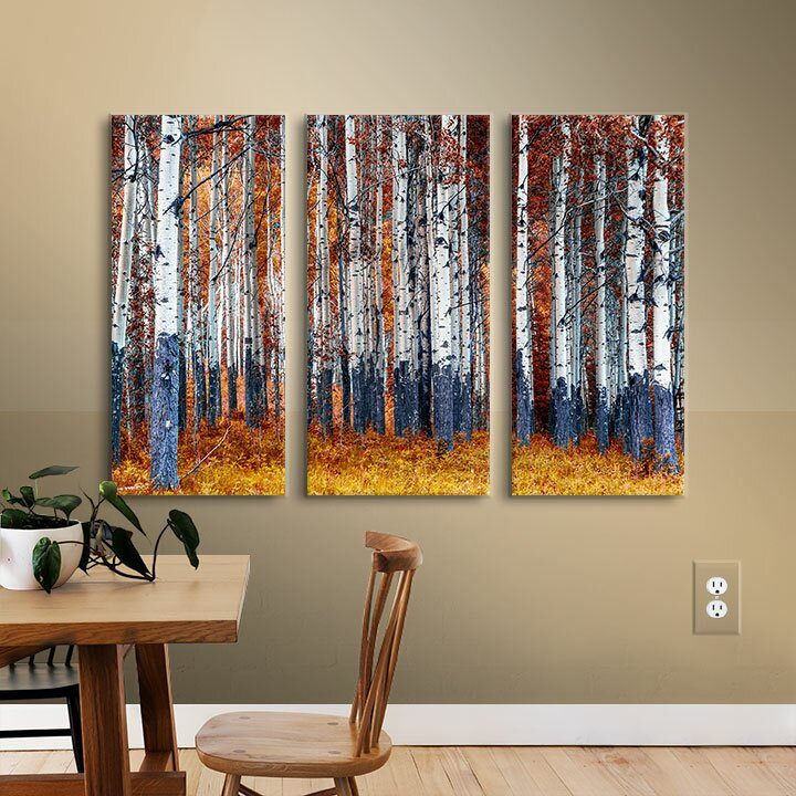Red Barrel Studio Autumn Forest 3 Piece Photographic Print On Wrapped Canvas Set Reviews Wayfair