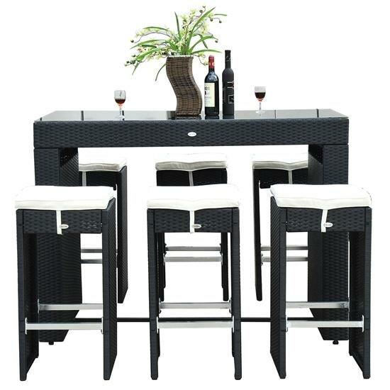Haddox 7 Piece Bar Height Dining Set With Cushions