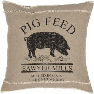 Surikova Pig 100% Cotton Throw Pillow