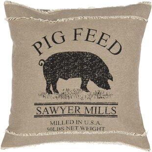 Surikova Pig 100% Cotton Throw Pillow