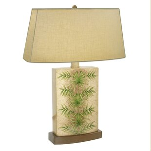 Areca Palm Leaf Hand Painted Porcelain 28 Table Lamp