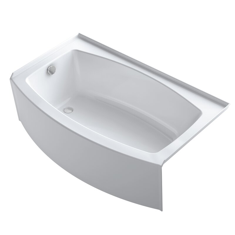 "kohler expanse curved 60"" x 30"" tile in soaking bathtub & reviews"
