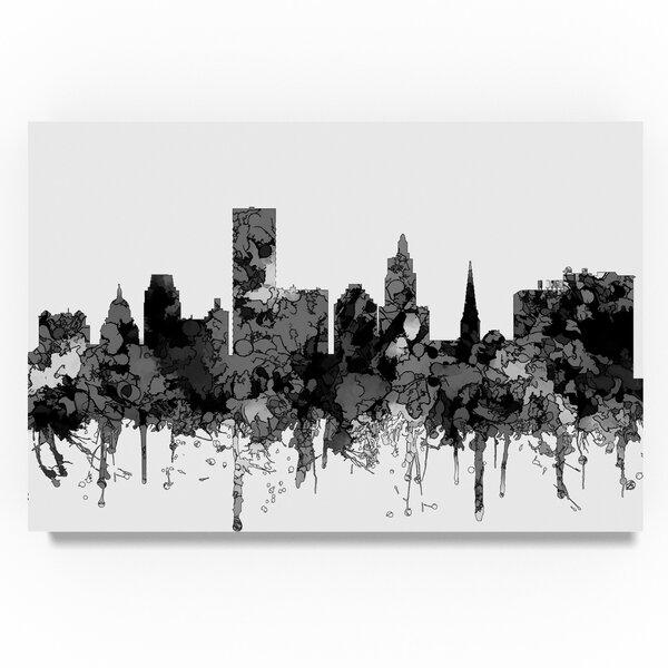Trademark Art Providence Rhode Island Skyline B And W Graphic Art Print On Wrapped Canvas Wayfair