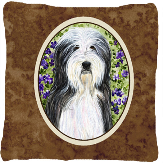 East Urban Home Bearded Collie Square Brown Indoor Outdoor Throw Pillow Wayfair