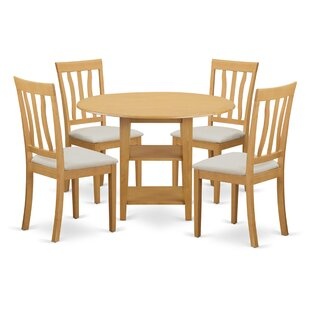 Tyshawn 5 Piece Drop Leaf Breakfast Nook Solid Wood Dining Set by Charlton Home Savings