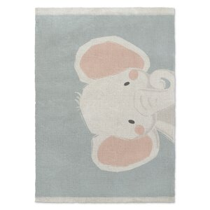 Allenville Elephant Orange/White/Green Area Rug