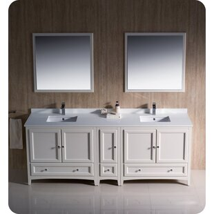 Reviews Oxford 84 Double Bathroom Vanity Set with Mirror By Fresca