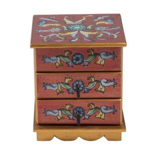 Reviews Glass Chest Hand Painted Russet Jewelry Box By Novica