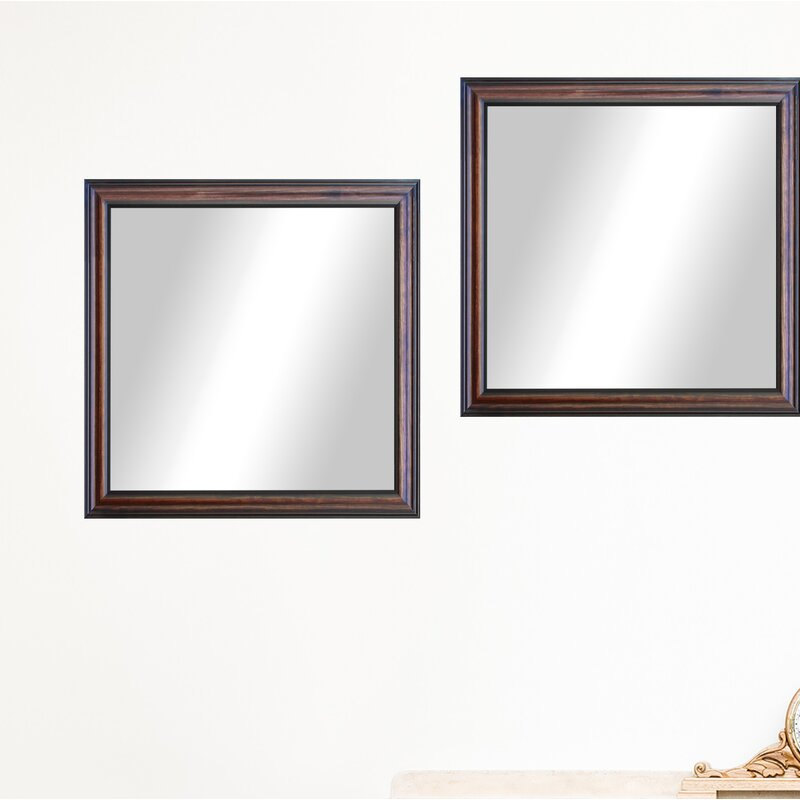 Charlton Home 4 Piece Kimzey Walnut American Wood Traditional Wall Mirror Set Wayfair