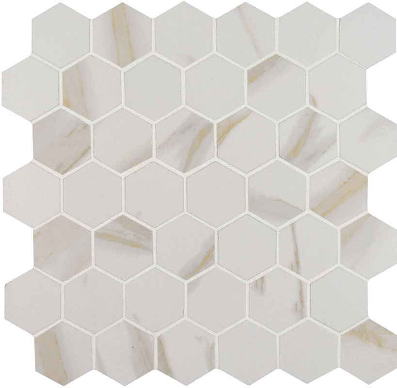 Calcatta 2  x 2  Hexagon Porcelain Mosaic Tile in White. MSI Calcatta 2  x 2  Hexagon Porcelain Mosaic Tile in White