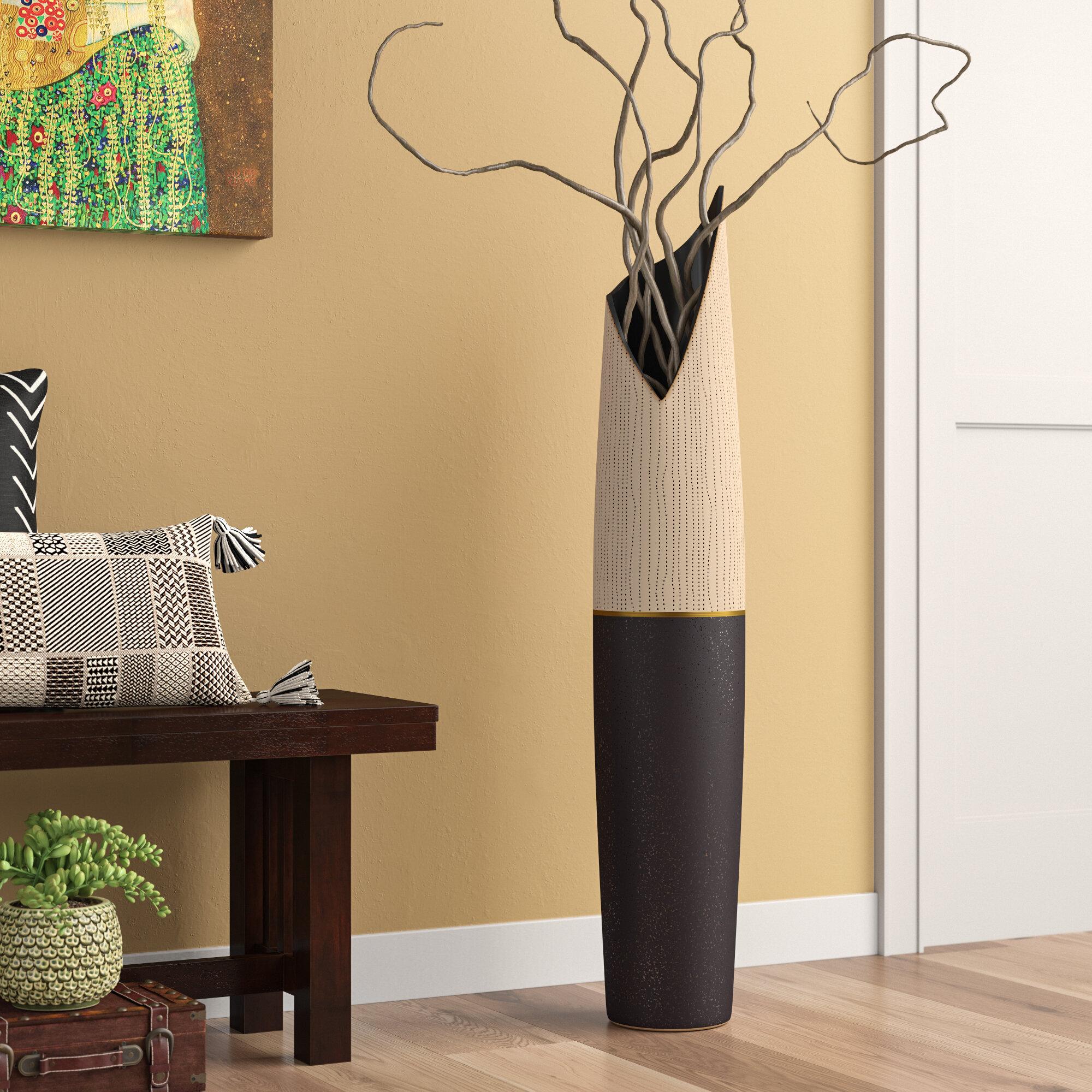 World Menagerie Priscilla Taupe Beige Ceramic Floor Vase Reviews Wayfair Ca