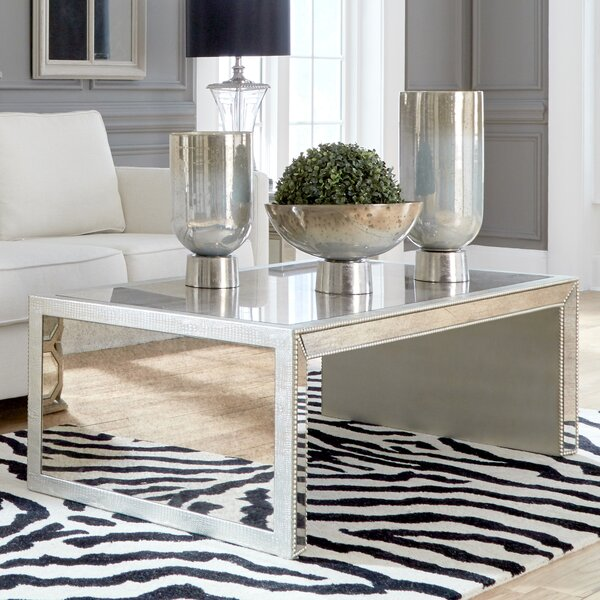 House Of Hampton Alexandria Antiqued Mirrored Coffee Table