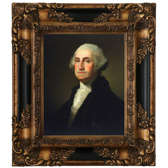 photo about Printable Pictures of George Washington known as George Washington 1854 Framed Oil Portray Print upon Canvas