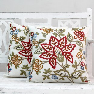 Seema Embroidered Square Cotton Throw Pillow Covers (Set of 2)