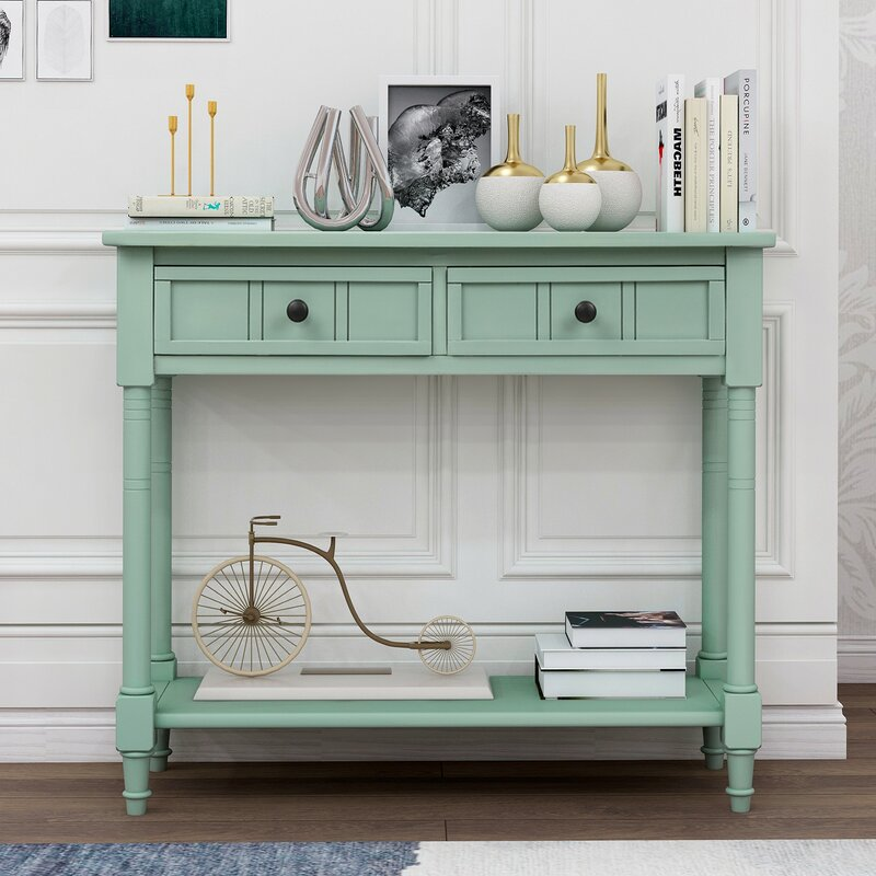 Highland Dunes Winchell 35 43 Solid Wood Console Table Wayfair