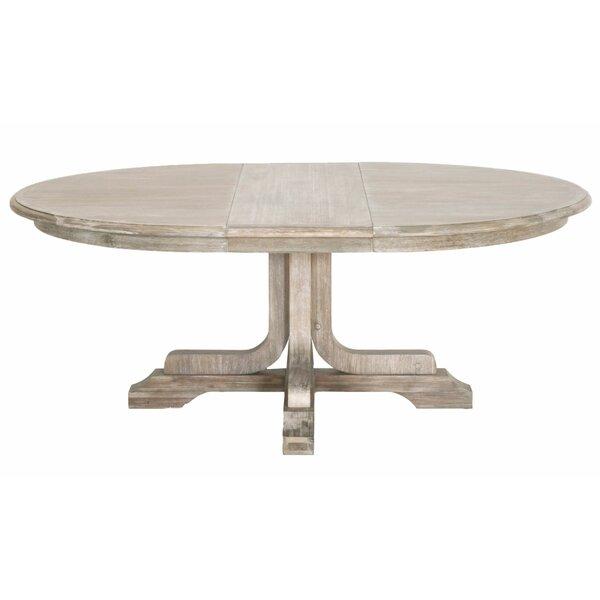 Benjara Extendable Pedestal Dining Table   Wayfair