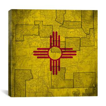 Wrought Studio New Mexico State Vintage Flag Picture Frame Graphic Art Print On Canvas Wayfair