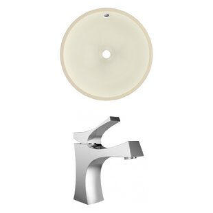 Online Reviews Ceramic Circular Undermount Bathroom Sink with Faucet and Overflow By American Imaginations